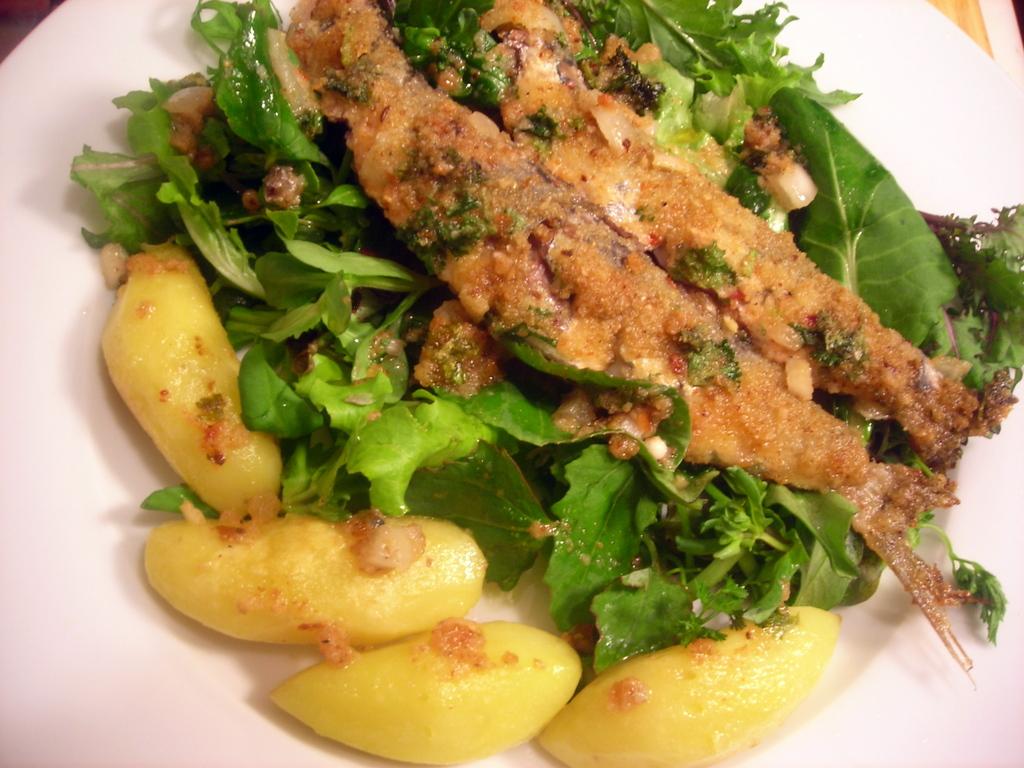 Sardines, mesclun, heirloom potatoes