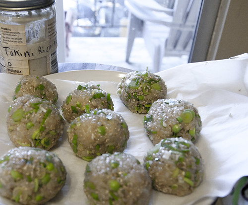Sweet Brown Rice Balls with Sesame and Sunflower Seeds, Green Garlic and Peas