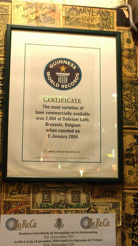 delirium cafe's guinness world record certificate for most beers