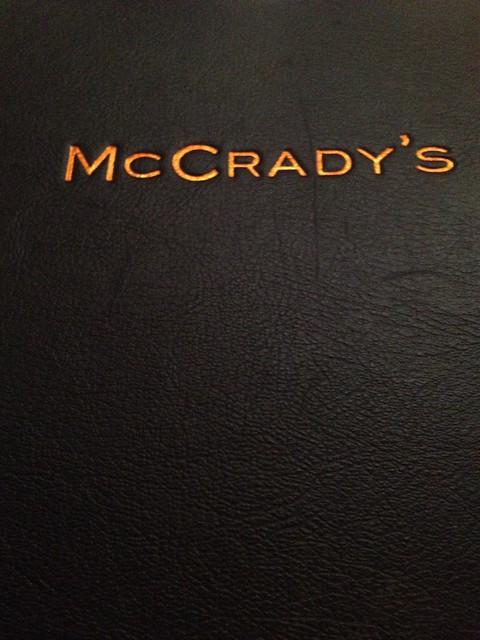 McCrady's menu cover