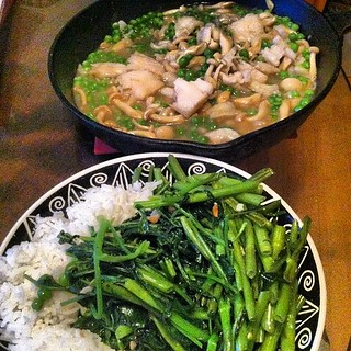 Dinner: fish with beech mushrooms, garlic stir-fried ong choy