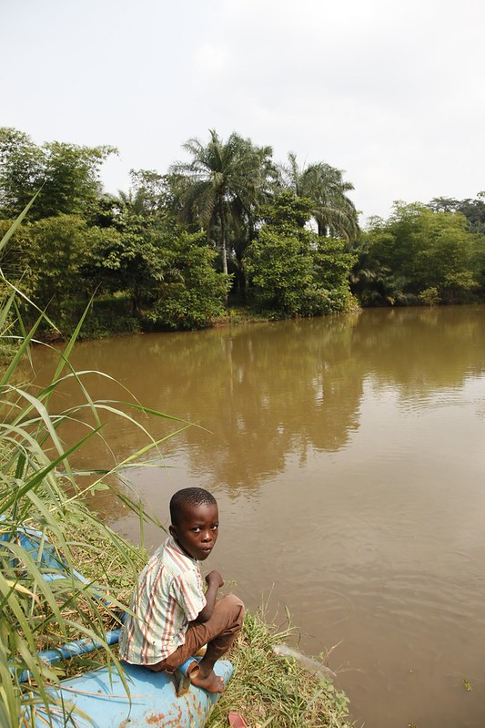 A boy sits on the bank of a tributary to the Congo river