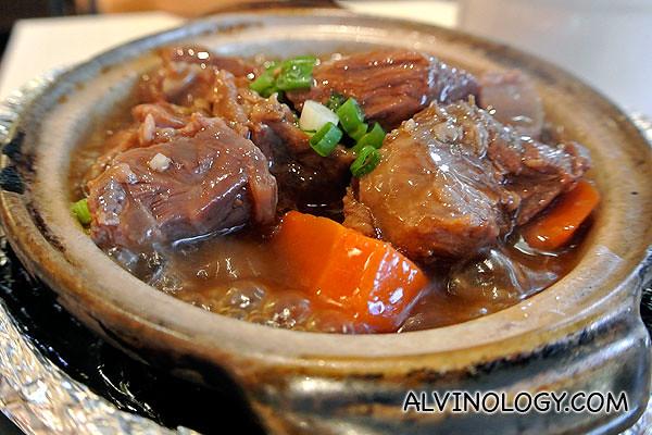 Simmering pot of braised beef