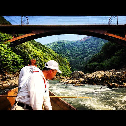 Front row seats on the Boat Ride down the #Hozugawa River #kyoto #japan