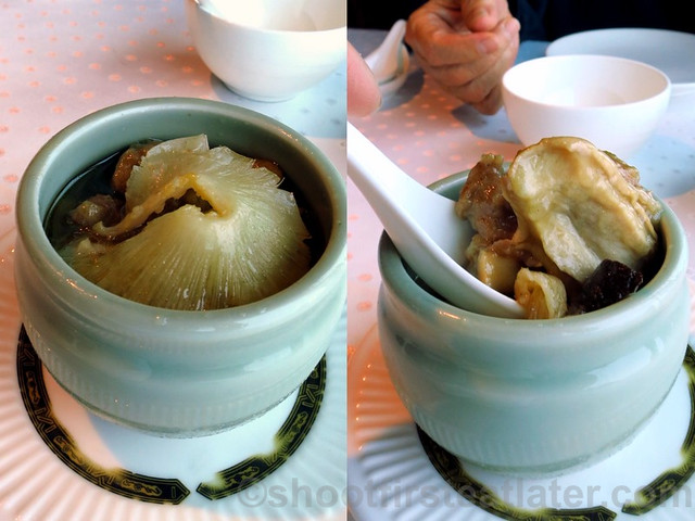 steamed shark's fin soup with sea cucumber, pork spare rib & chicken NT$560