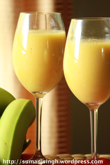 Mango-Pineapple-Banana Smoothie/Orange Smoothie