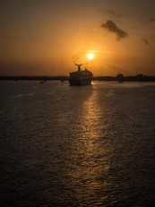Arriving in the Cayman Islands at sunrise