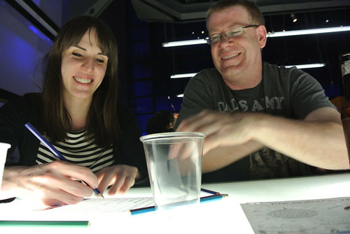 Ellen & Neil working on our answers for the Science Museum pub quiz - 27th June 2012 - Day 28