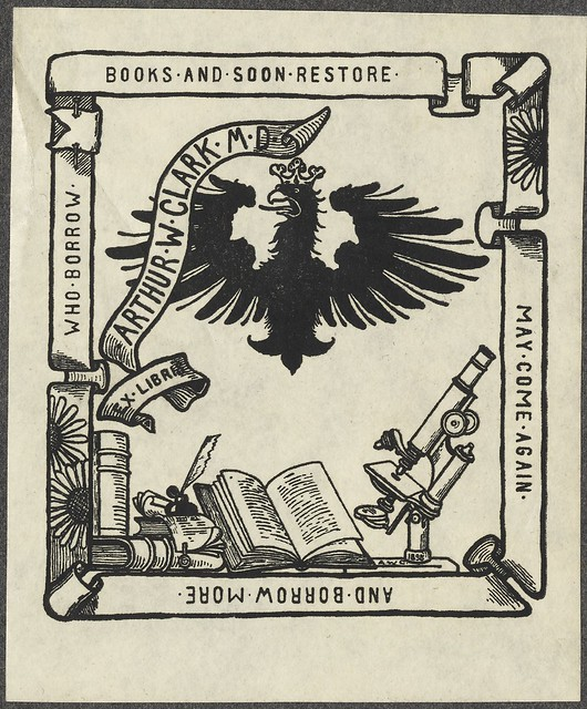 bookplate - prussiano águia, bandeira da fita + mesa com microscópio e livros