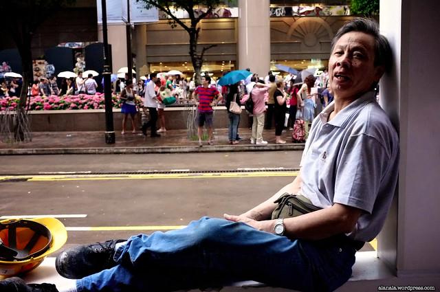 Worker taking break