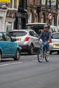 Cyclist on Skipton hight street
