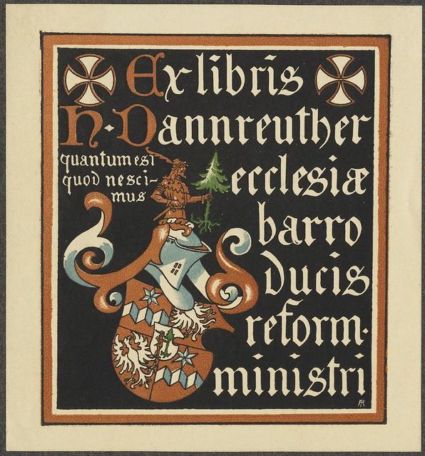 bookplate de ilustração bloqueado sólido colorido, escudo armorial