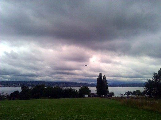 NASA Super Guppy & chase plane over Lake Washington