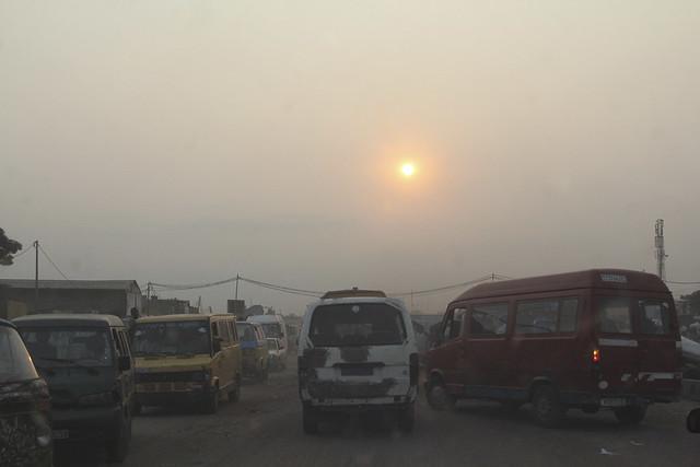 The road heading into Kinshasa from Ndjili airport