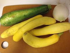 zucchini + summer squash + onion