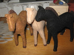 Trio of Horses in felt by Rose Cottage Handmade
