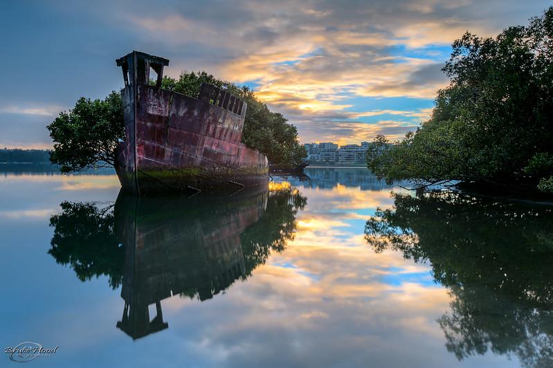 http://twistedsifter.com/2013/04/ss-ayrfield-shipwreck-homebush-bay-sydney-australia/