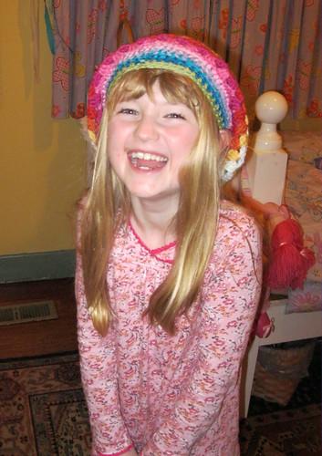 rainbow granny stripe slouch hat