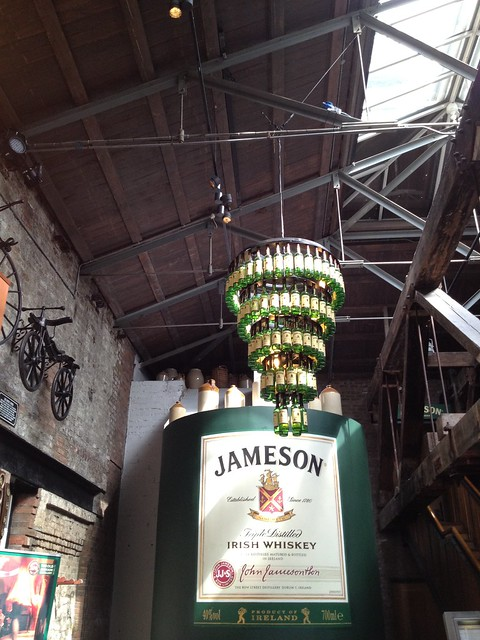 Whiskey bottle chandelier - The Old Jameson Distillery