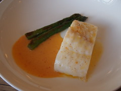 Braised turbot with smoked roe