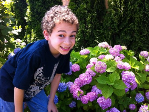 Aidan and some Flowers
