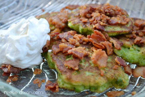 Pea Pancakes with bacon and sour cream