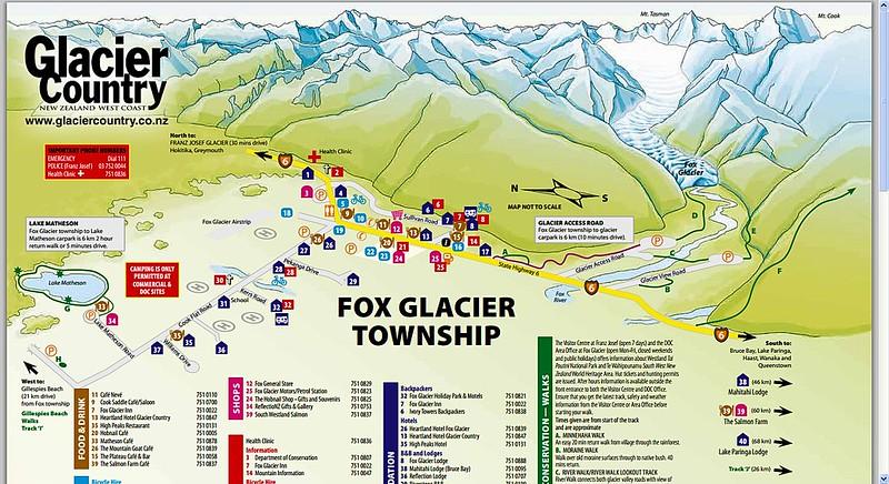 Fox Glacier country map