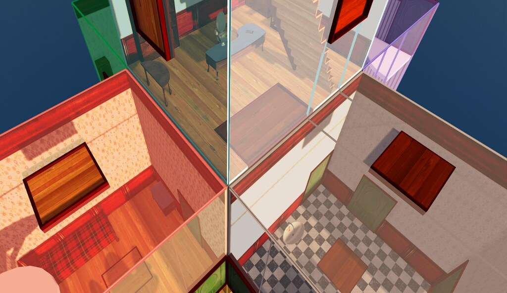The Crooked House in SL: closer view of some rooms