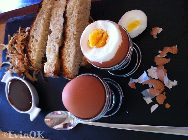 Soldiers and eggs and Marmite and potato straws. Brunch at Fenns quay