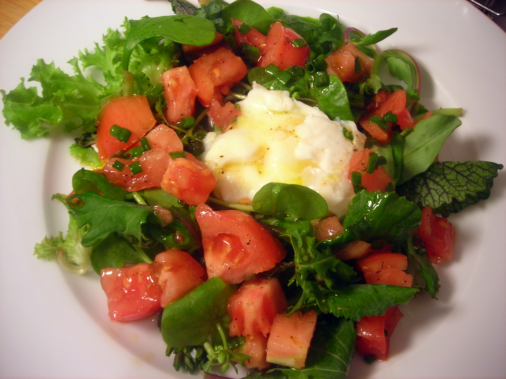 Mesclun, heirloom tomatoes, wild turkey egg