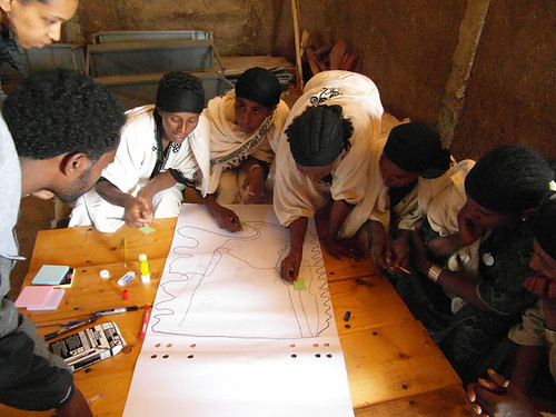 Maksenit (Amhara) community members playing an adapted version of the 'Happy Strategies' Game Capturing GIS data in Debre Tabor (Credits: Catherine Pfeifer / ILRI)