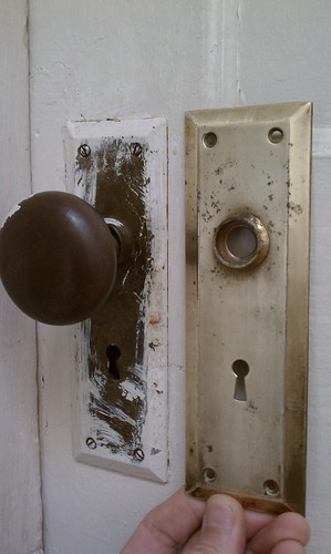 Door hardware before/after