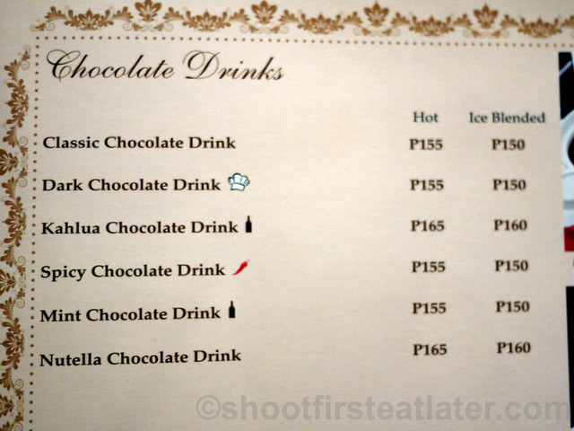 Maitre Chocolatier Boutique Cafe Menu