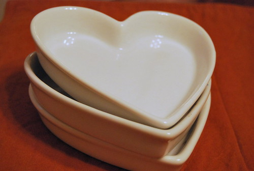 OPUS - set of three heart shaped ceramic dishes