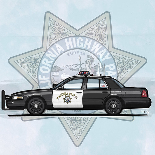 Illustration of a California Highway Patrol Ford Crown Victoria Police Interceptor In Front Of The CHP Doorshield Logo (c)Tom Mayer, All Rights Reserved