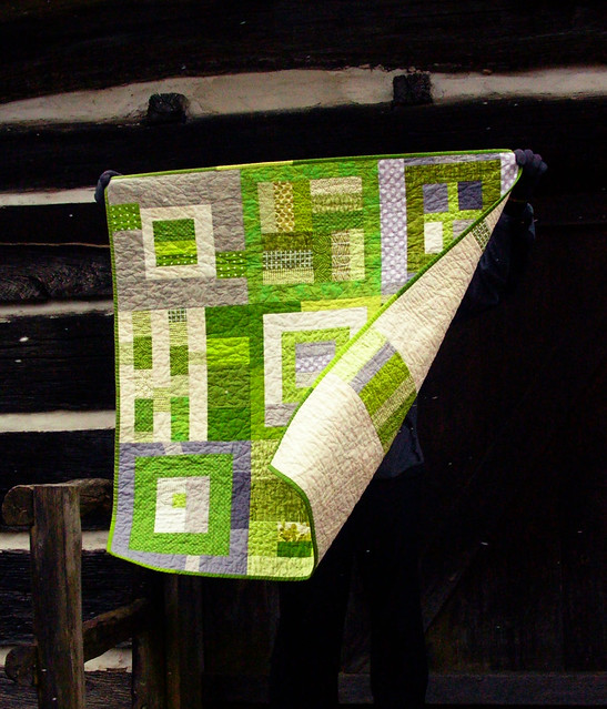 green squares improv baby quilt front and back