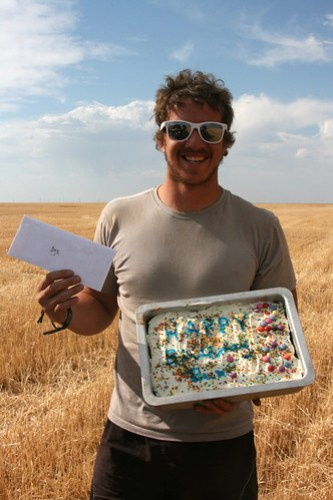 Bux celebrates his birthday in the field