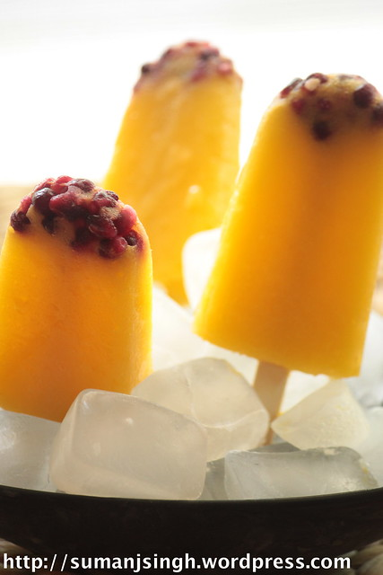 Mango-Pineapple Popsciles with Pomegranate seeds