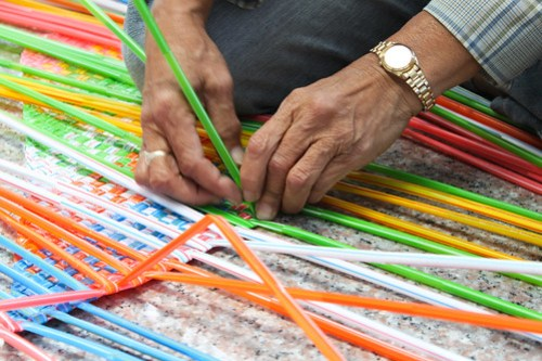 Weaving Plastic Straws 3