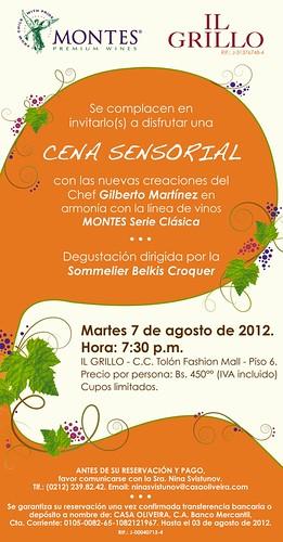 Invitación Cena Sensorial Montes- Il Grillo