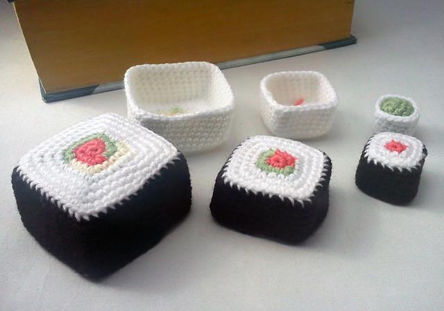 crochet sushi nesting baskets