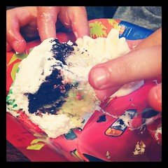 Birthday cake & ice cream (minus the slimy fingers) #photoadaymay #somethingthatmakesmehappy
