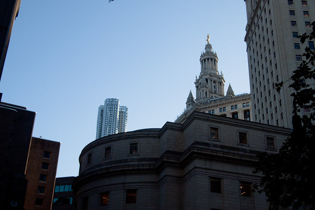 Manhattan Municipal Building and 8 Spruce Street from the Courthouse. Photo by Ellen Brenna Dougherty