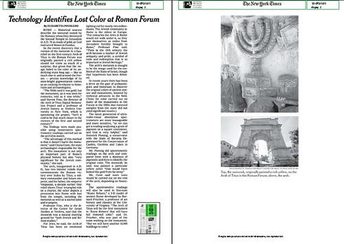 """ROMA ARCHEOLOGIA - Il Foro Romano e Arco di Tito: """"[Dott.ssa Cinzia Conti] Technology Identifies Lost Color at the Roman Forum,"""" THE NEW YORK TIMES (26/06/2012), p. 3. by Martin G. Conde"""