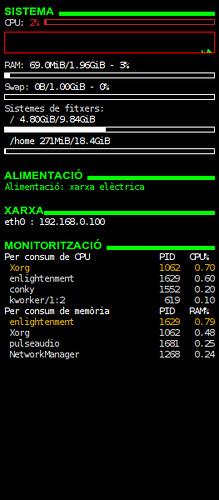 Conky: consum RAM Enlightenment acabat d'instal·lar