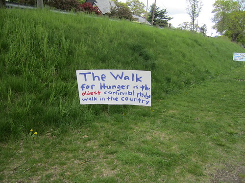 Sign:  The Walk for Hunger is the oldest continual pledge walk in the country
