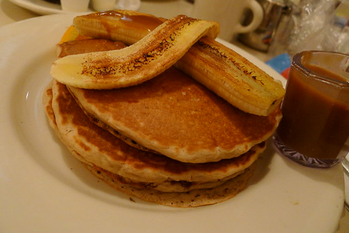Nookie's toffee banana pancake stack