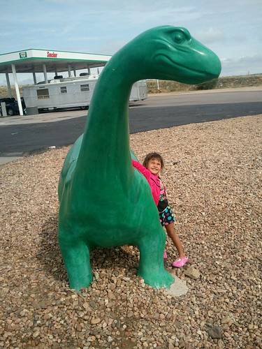 On a fuel break Kaidence greets the Sinclair Dino