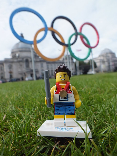 Olympic Lego Figures outside Cardiff City Hall