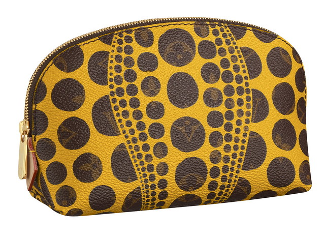 Cosmetic Pouch  Monogram Pumpkin Dots yellow